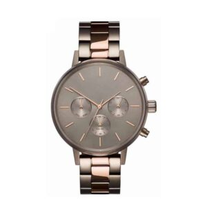 all champagne stee bracelet rose gold hands watch