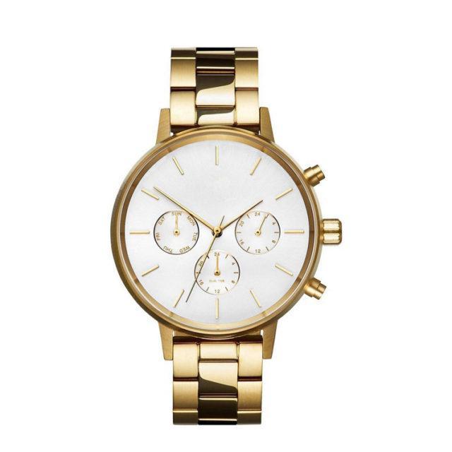 all gold steel bracelet white dial watch