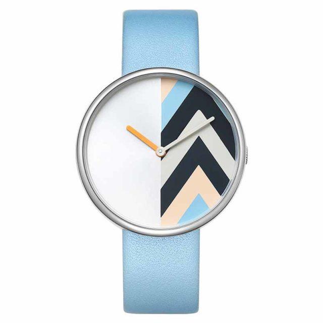 silver case lugless light blue watch