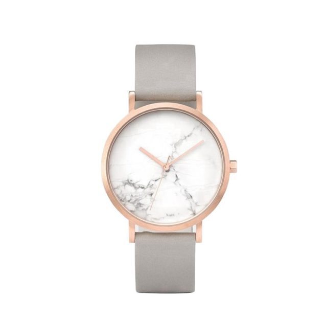 rose gold case grey leahter strap white marble watch