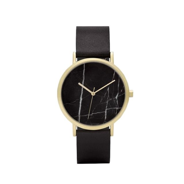 gold case black leahter strap black marble watch