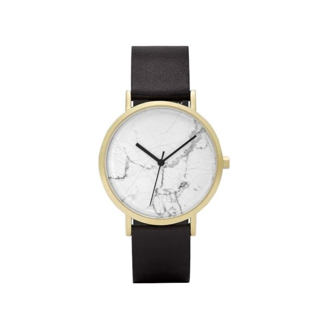 gold case black leahter strap white marble watch