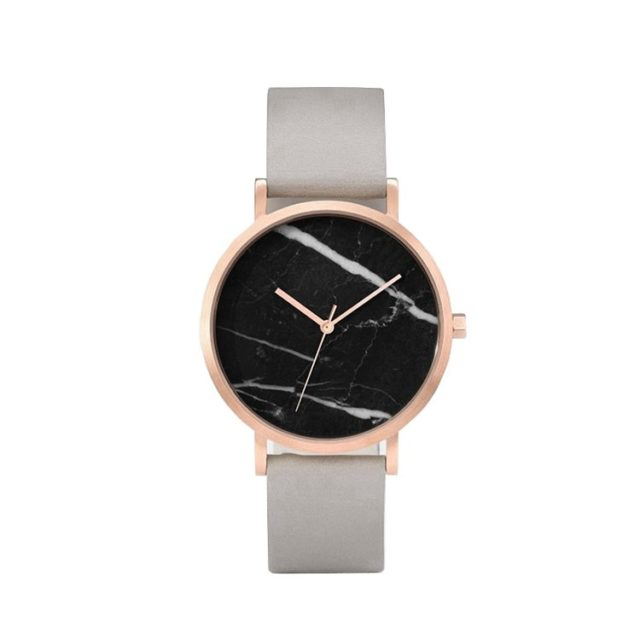 rose gold case grey leahter strap black marble watch