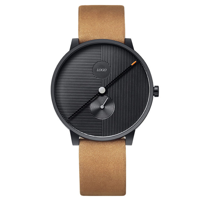 black case tan leather strap watch