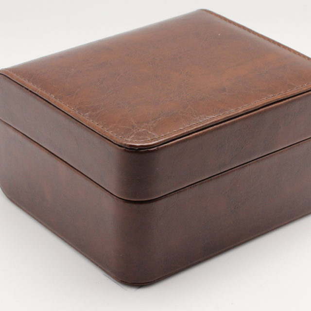 brown leather luxury watch box side view