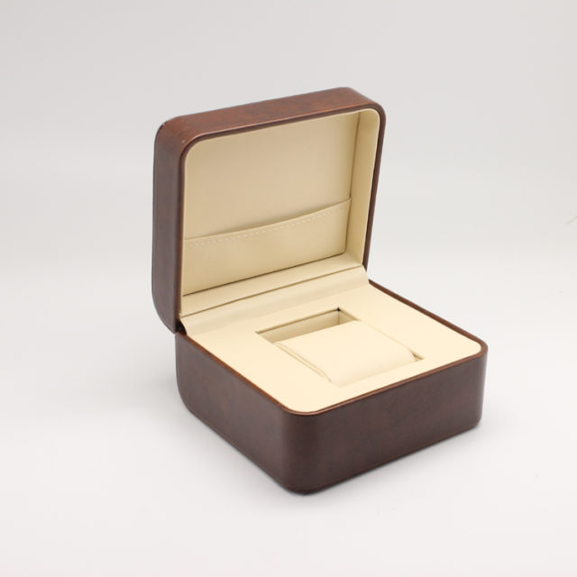 brown leather luxury watch box front view