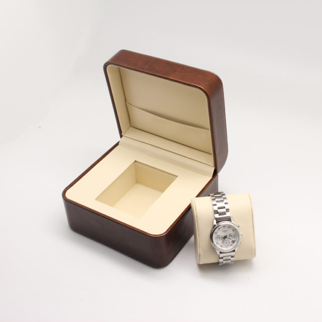brown leather luxury watch box