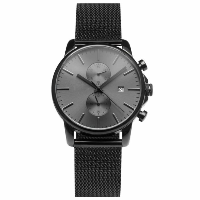 all black stainless steel mesh strap chronograph men's watch