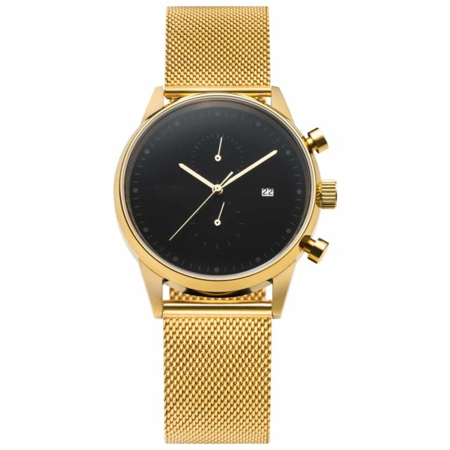 all gold stainless steel mesh chronograph black face watch