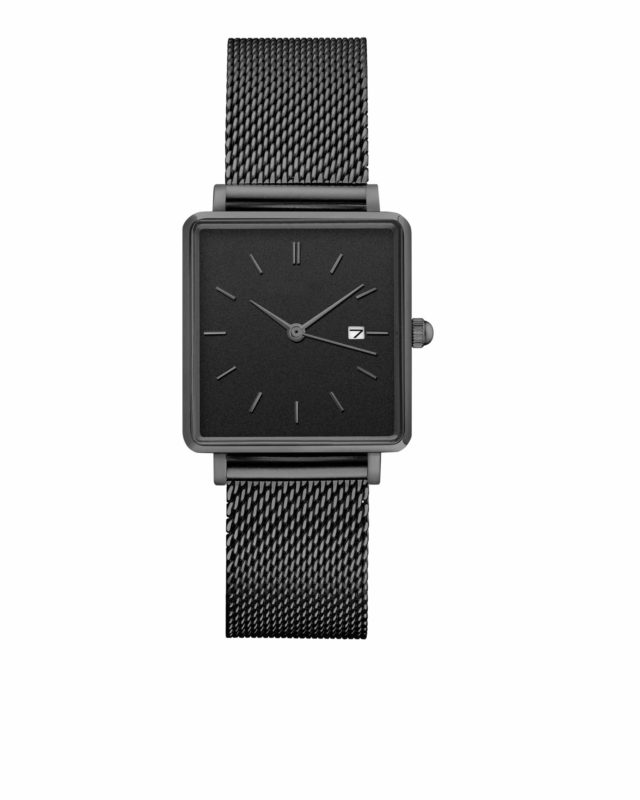 all black stainless steel mesh strap square watch