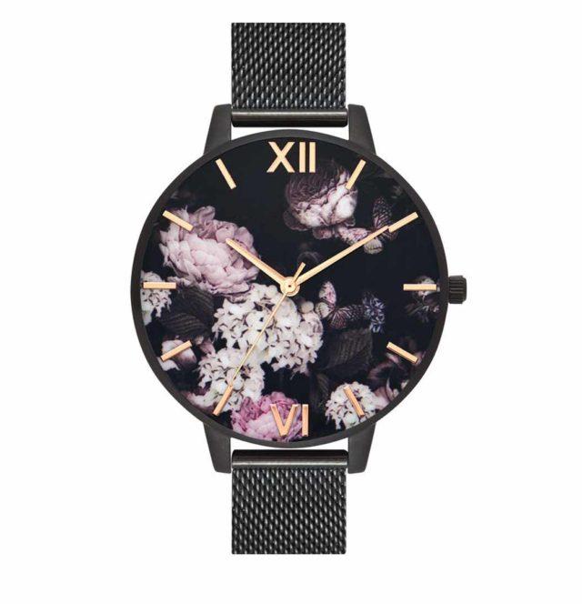 all black steel strap flowers watch