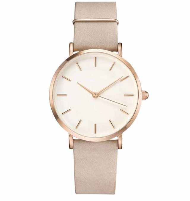rose gold case beige leather strap eggshell classic watch