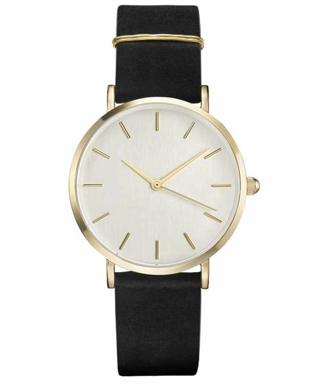 gold case black leather strap eggshell classic watch