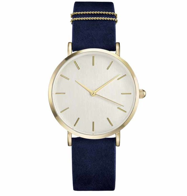 gold case blue leather strap eggshell classic watch