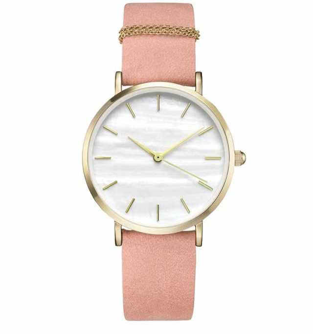 gold case pink leather strap classic women's watch