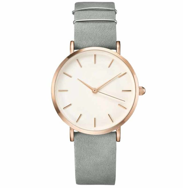 rose gold case leather strap classic women's watch