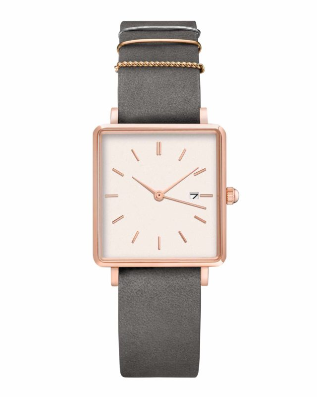 rose gold case grey leather strap square watch