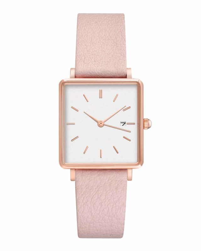 rose gold case pink leather strap square watch