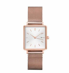 all rose gold stainless steel mesh strap white face square watch