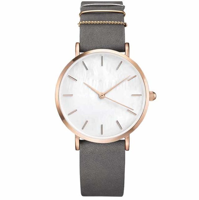 rose gold case grey leather strap
