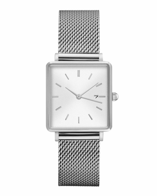 all silver stainless steel mesh strap white face square watch