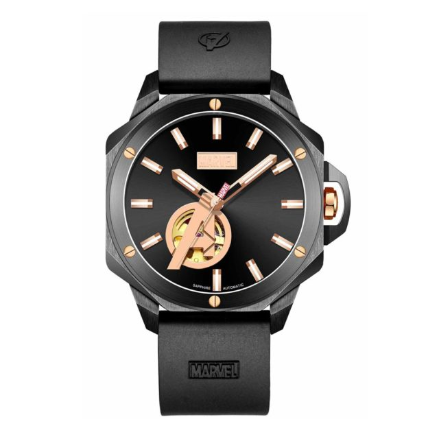 all black rubber strap marvel watch