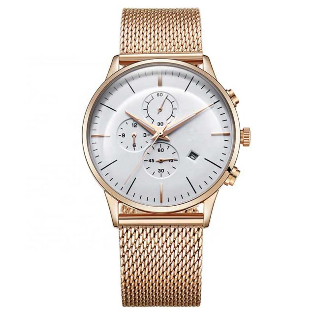 all stainless steel rose gold mesh band chronograph men's watch