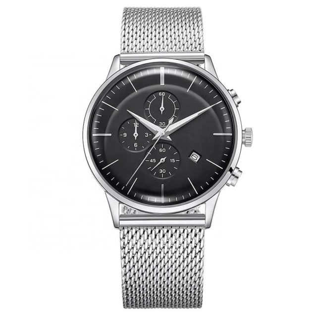 all stainless steel silver mesh chronograph watch