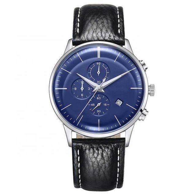silver case black leather chronograph men's watch