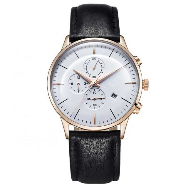 rose gold black leather chronograph men's watch