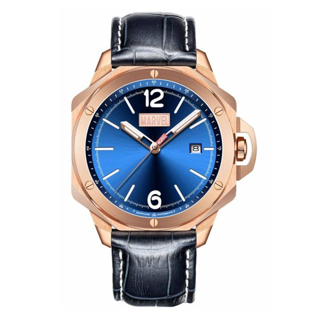 rose gold case deep blue leather strap watch