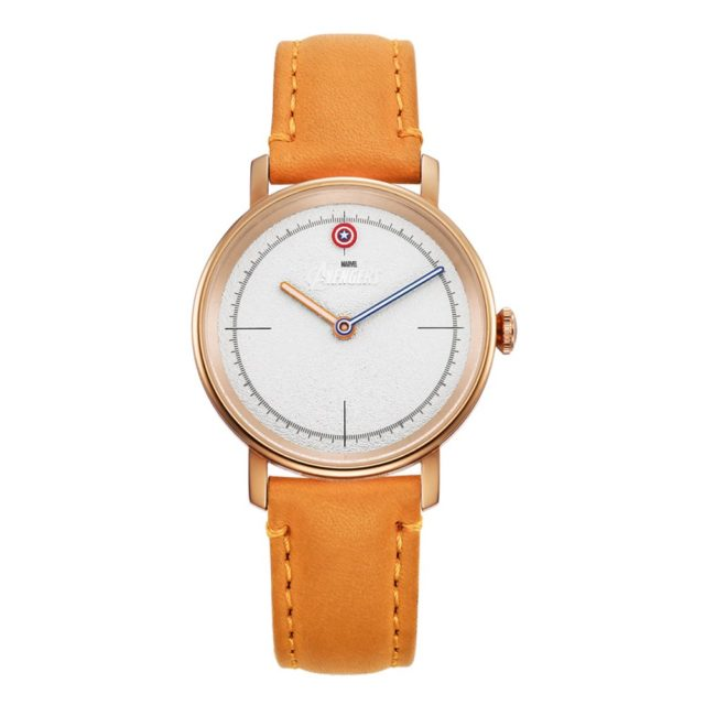 rose gold case tan leather strap watch