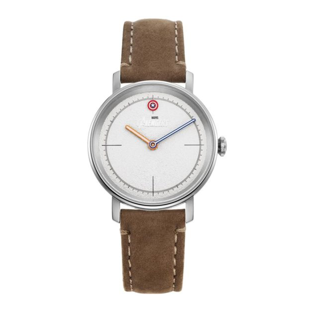 silver case grey leather strap watch