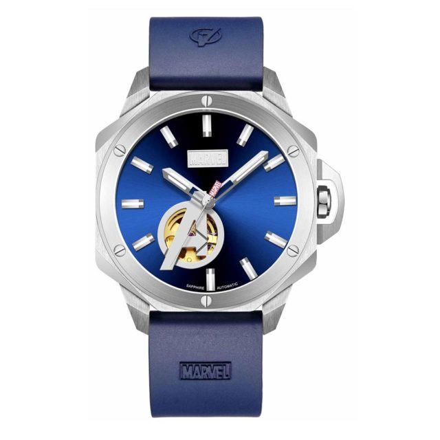silver case blue rubber strap skeleton watch