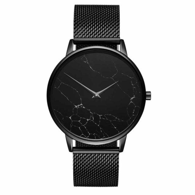 all black steel mesh strap black marble watch