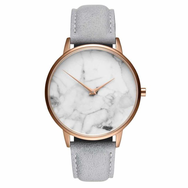 rose gold case grey leather strap white marble watch