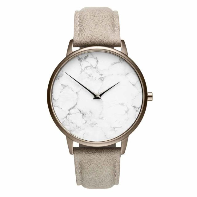 all champagne leather strap white marble watch