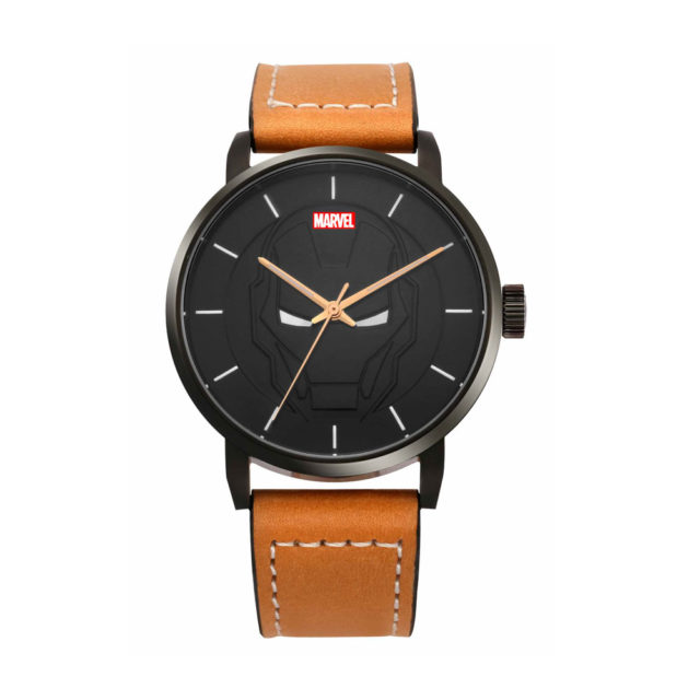 black case tan leather strap watch