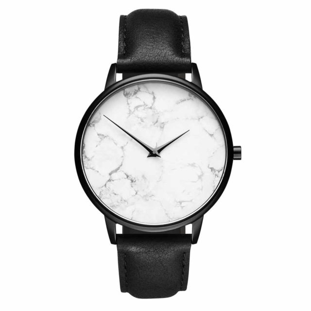 all black leather strap white marble watch