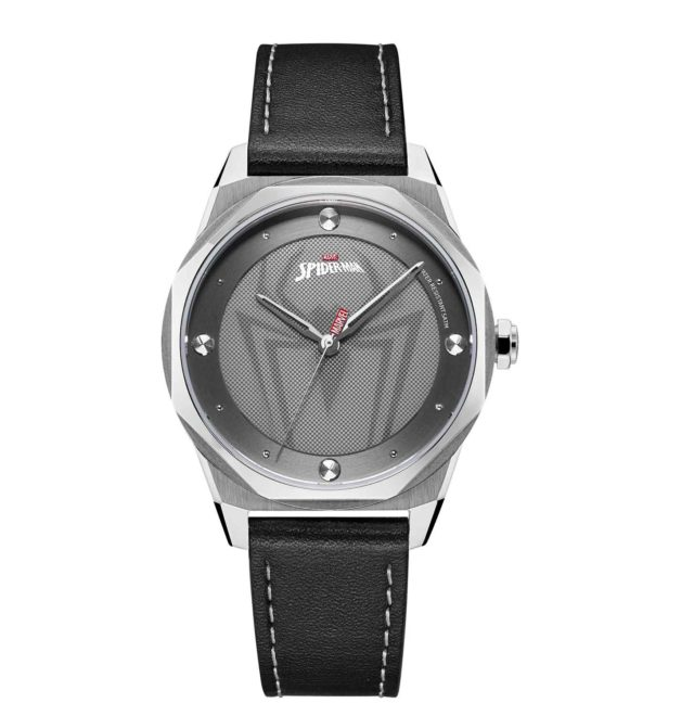silver case black leather strap spiderman watch