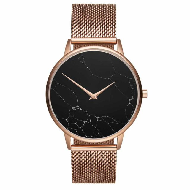 all rose gold steel mesh strap black marble watch