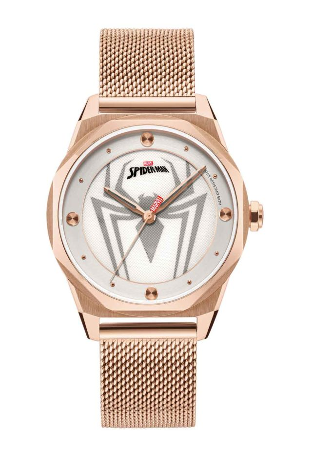 all rose gold stainless steel mesh strap spiderman watch
