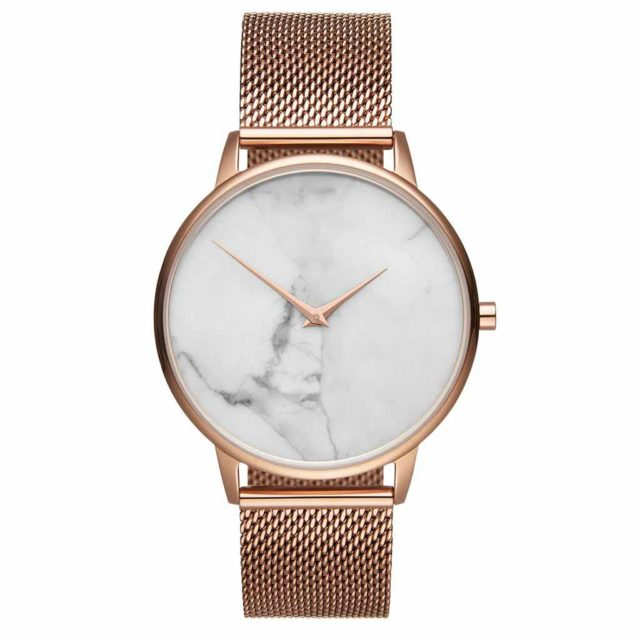 all rose gold steel mesh strap white marble watch