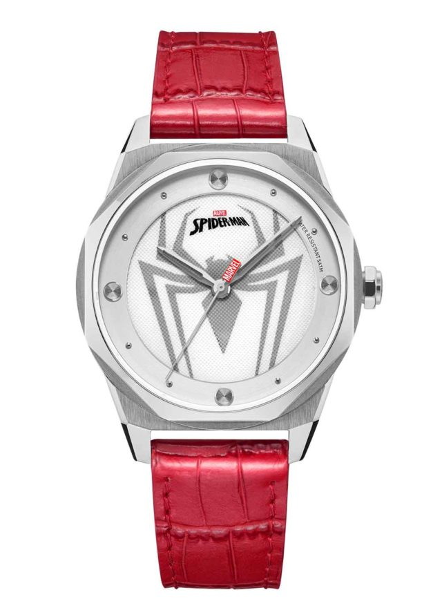silver case red leather strap spiderman watch