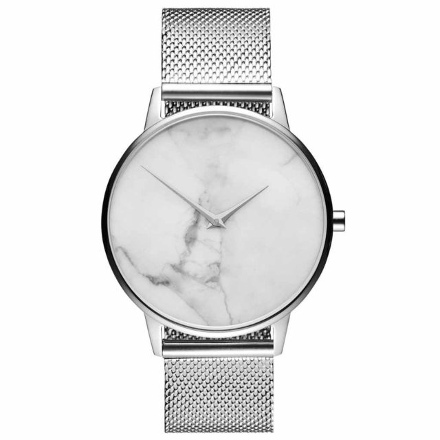 all silver steel mesh strap white marble watch