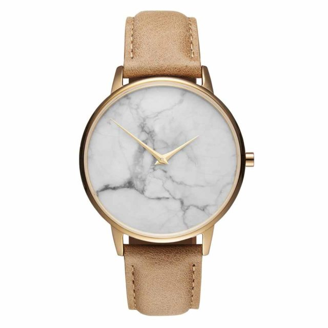 gold case yellow leather strap white marble watch