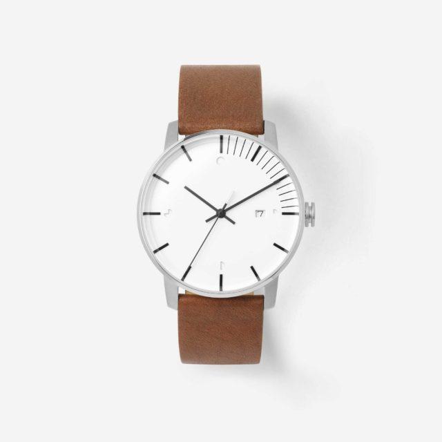silver brown watch