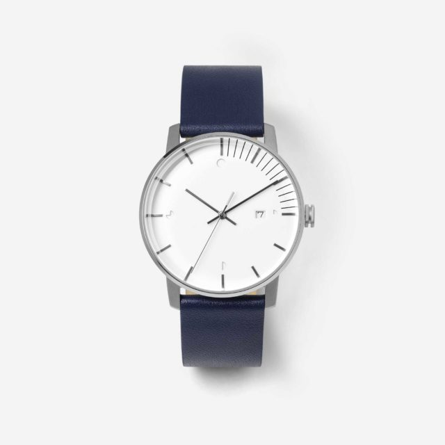 silver navy watch